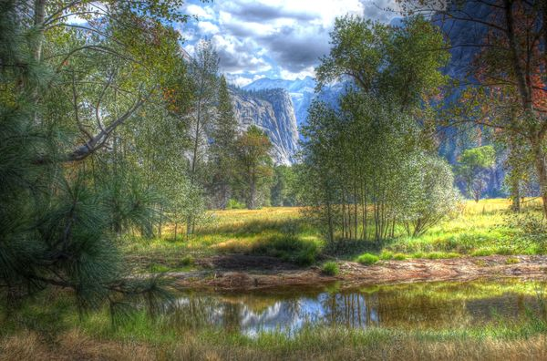 Washington Column from Swinging Bridge, Yosemite...