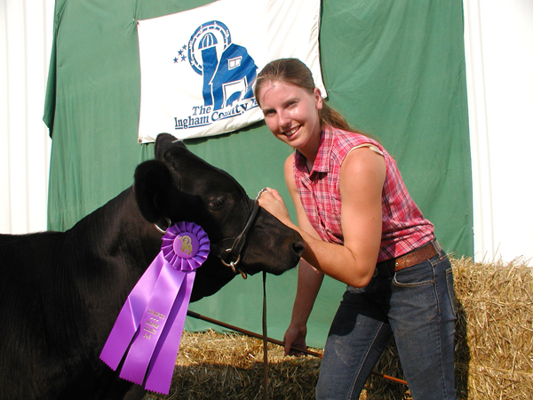 At the fair with her beef heifer...