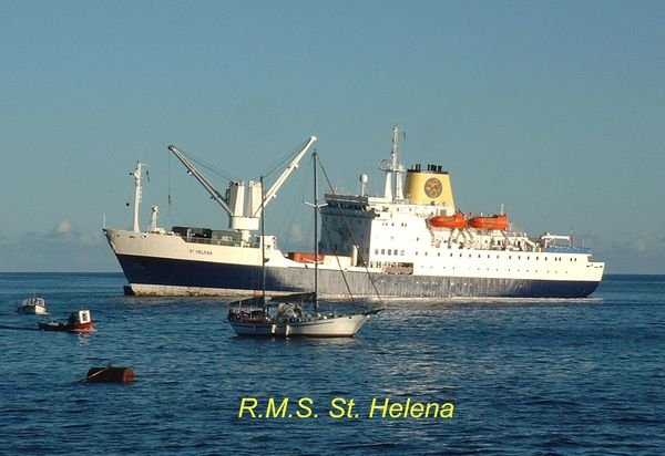 current \rms \st. Helena at anchor in James Bay...
