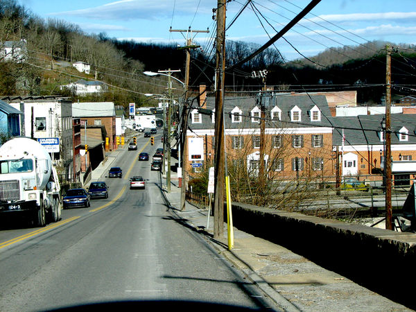 US-219 entering downtown Ronceverte, WV from the W...