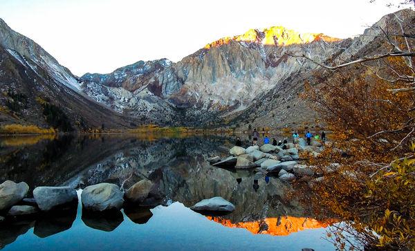 convict lake sun rising over mountain...