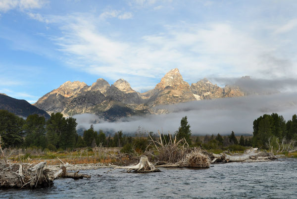 Grand Teton from a raft on the Snake River...