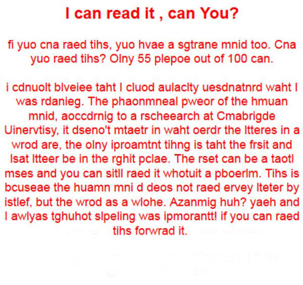 A little reading test...non-political