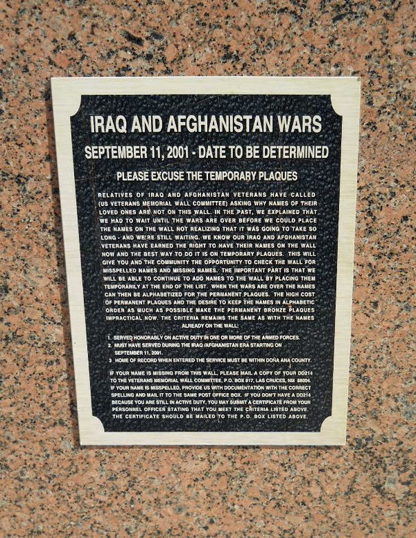 Temporary Plaque - ongoing war...