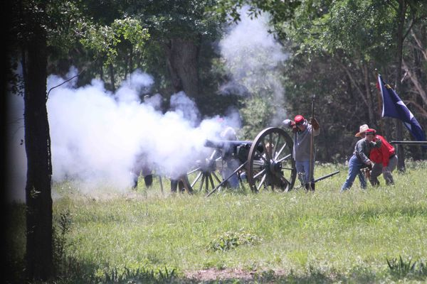 Civil war reenactment near Mexia, Texas first group