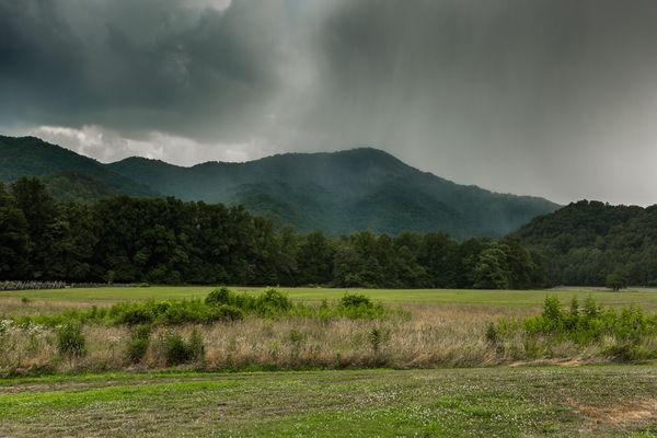 Rain Fiercely Falling on the Mountain...
