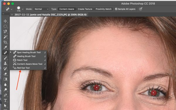Photoshop's Red Eye Tool...