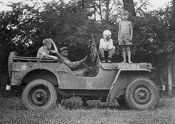 Weathered Jeep with three little German passengers...