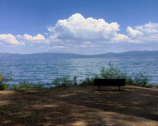 A bench in the shade with a view of the lake (Topa...