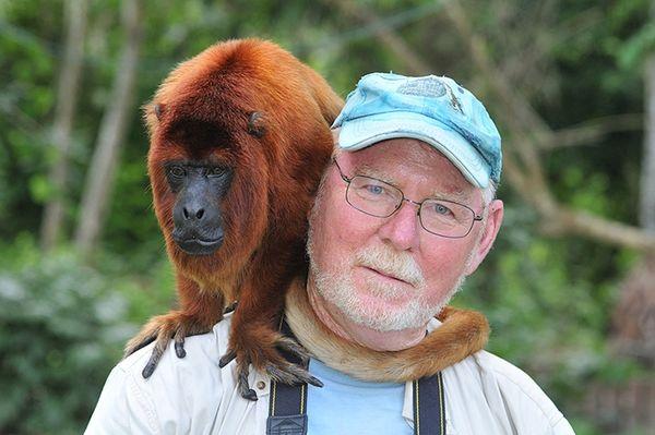 Frank w/Howler monkey...