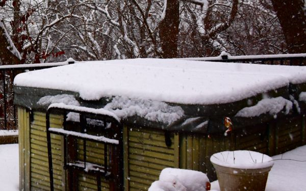 See the flakes in front of hot tub?...