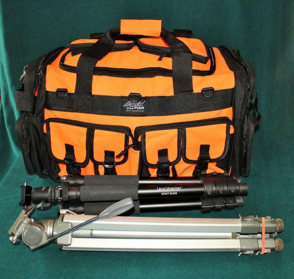 Pro Master tripod fits in bag 2nd tripod outside w...