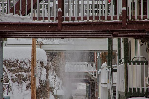 Shoveling snow three stories up...