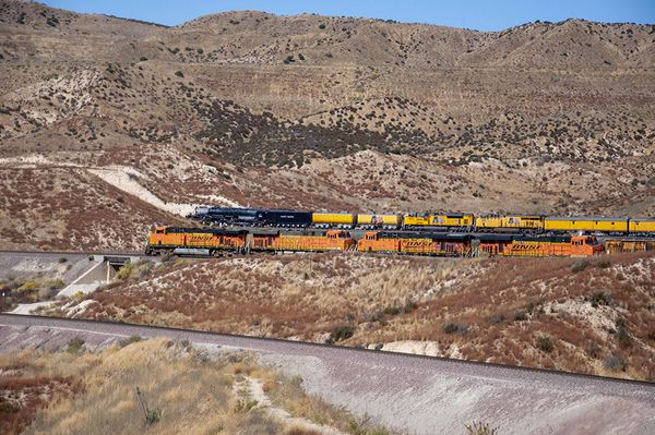 BNSF 7762 Passes 4014 Which Stopped For Safety Che...
