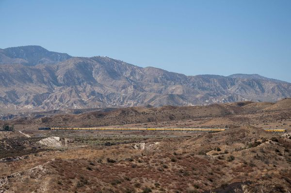 The Train Descends Cajon Pass Toward the Mormon Ro...