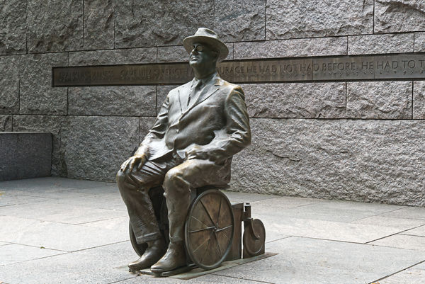 Roosevelt depicted in his wheel chair which was se...