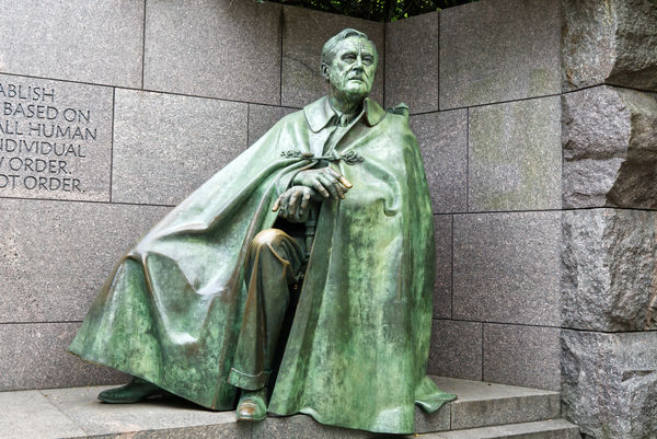 Another statue of Roosevelt seat in a chair and we...