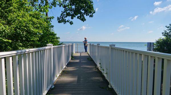 (1) A small walking bridge as we approached Lake E...