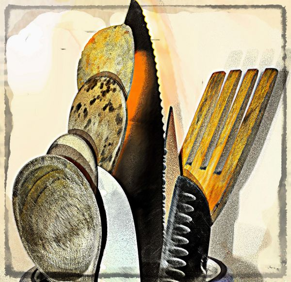 Knives wooden fork and spoons....