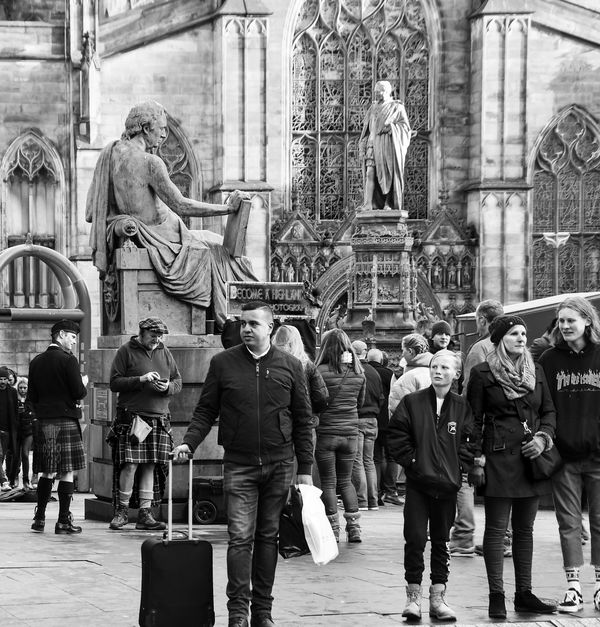Crossing the street in front of St. Giles...