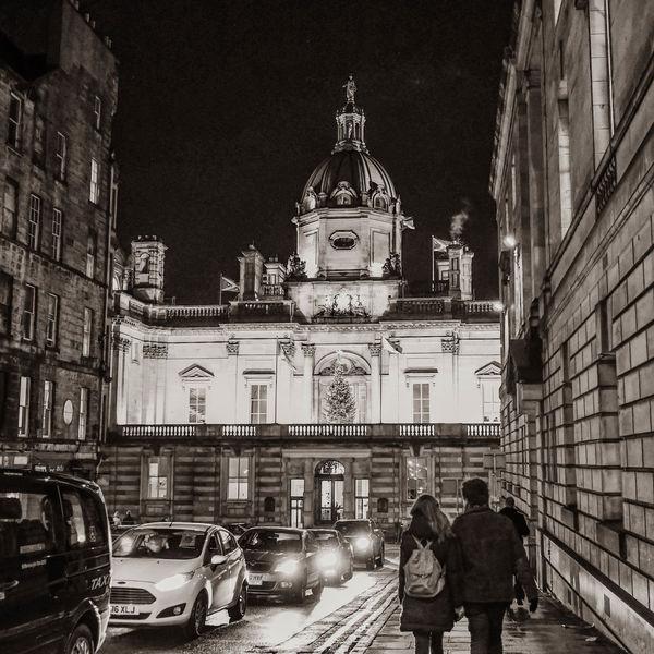Bank Street, Edinburgh at night...