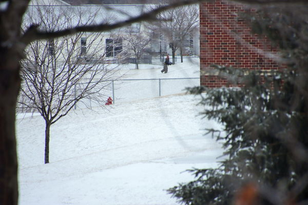 Trying a zoom lens on someone sledding....