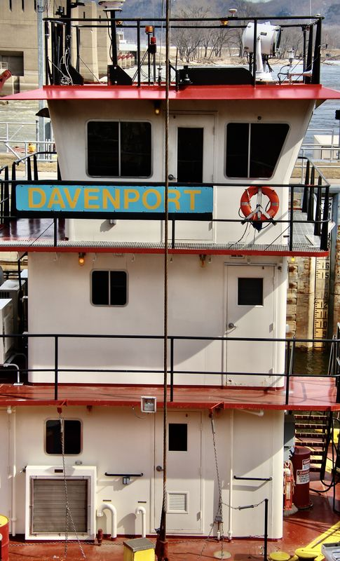 A door on each level of a towboat...