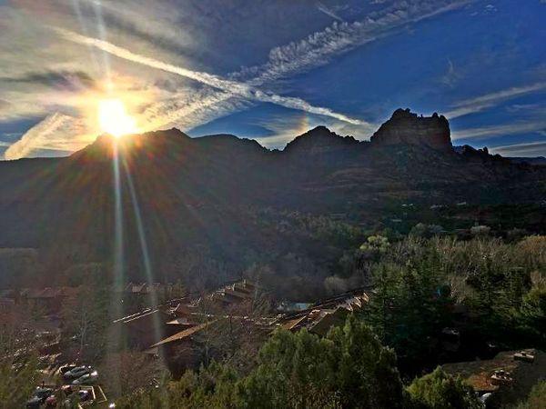 Sun rises over the mountain....