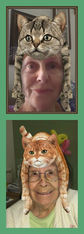 My 86 year old Mom and me with our cat hats....