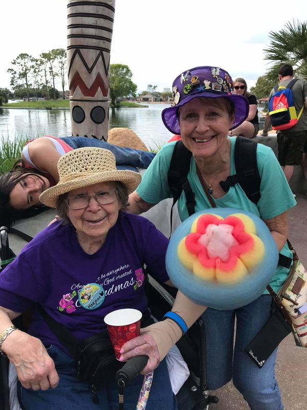 My Mom and Me at Epcot, early March,  2020 (age 86...