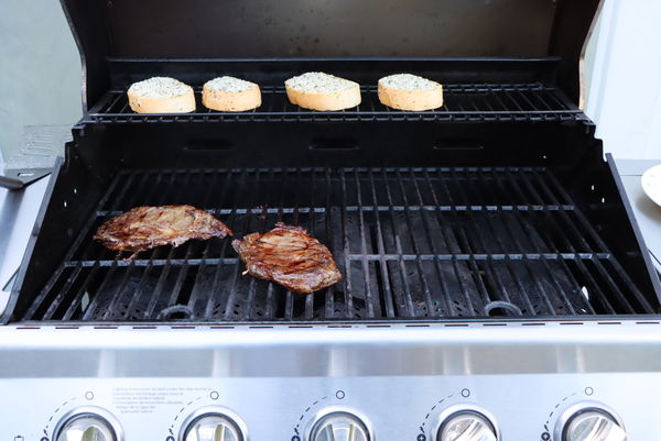 Steaks and garlic bread. First grilling of season....