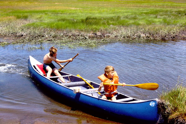 Our 2 boys about 40 yrs ago in our canoe!...