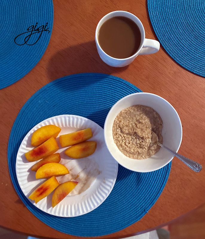 Maple and Brown Sugar oatmeal with a peach and cof...