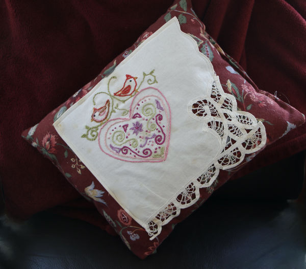 Our daughter made this out of antique lace doily f...