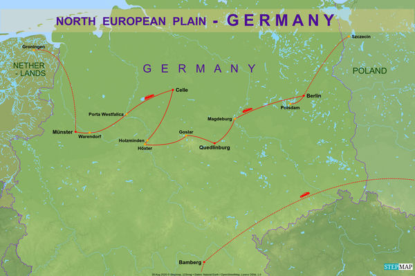 6 - Detail map of our drive through Northern Germa...