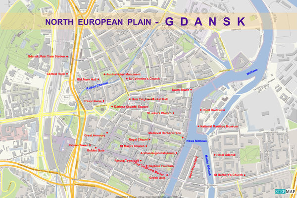 9 - Detail map of our visit of Gdansk/Danzig, port...
