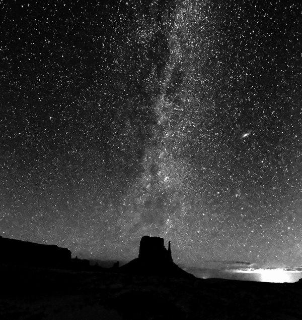 Milky Way at Monument Valley, Arizona with Lightni...