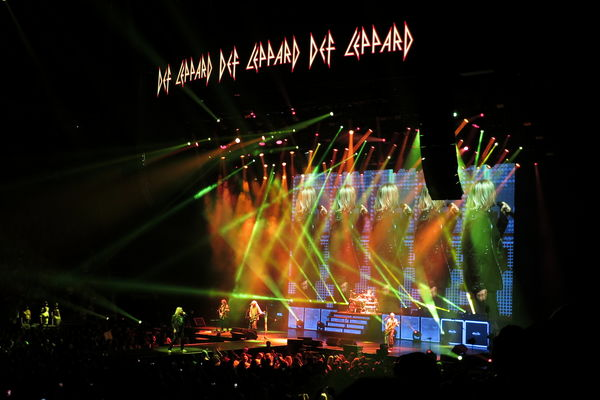 Rock band Def Leppard in concert in July of 2018 i...