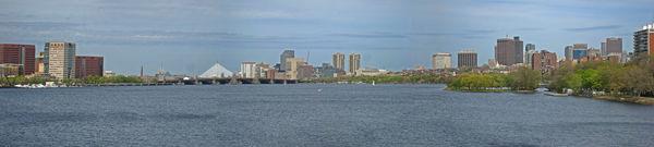 Charles River, Boston: panorama with Longfellow an...