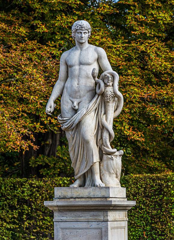 6 - Antinous/Agathos Daimon statue with a snake an...
