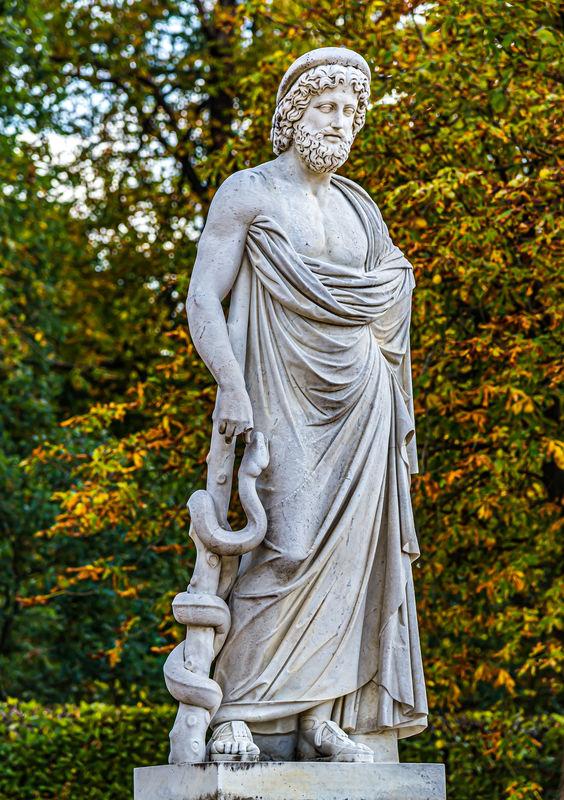 7 - Statue of Asklepios (Greek god of medicine) wi...