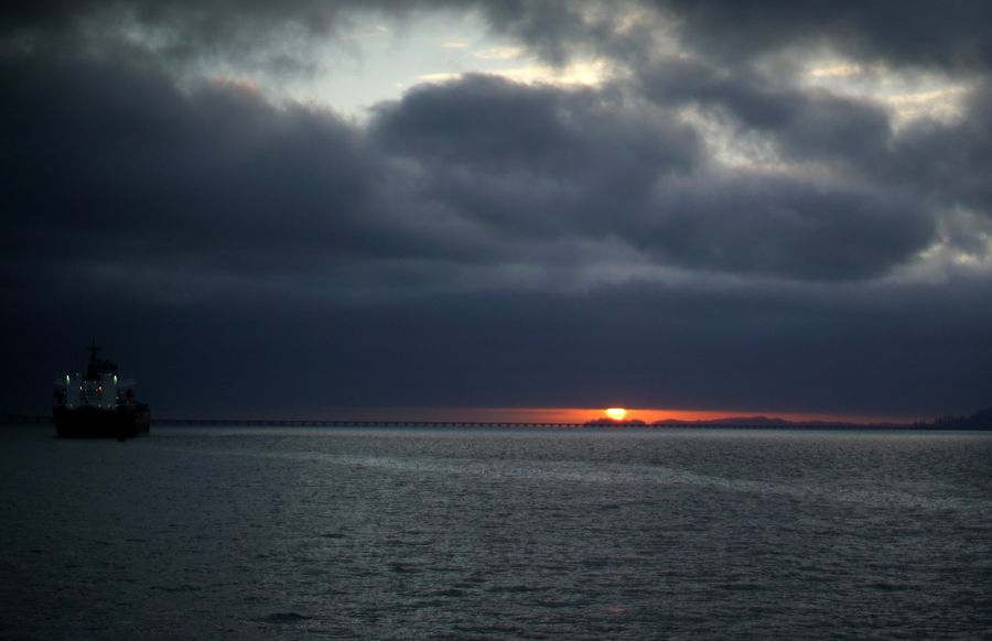 ... then the sun peaked between the bottom of the ...