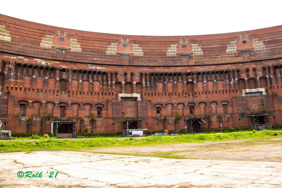 "Inside the unfinished ""Coliseum""..."