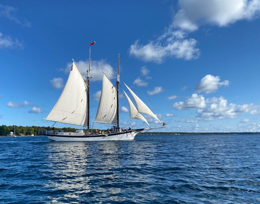 The 112' gaff-rigged schooner Manitou out of Trave...